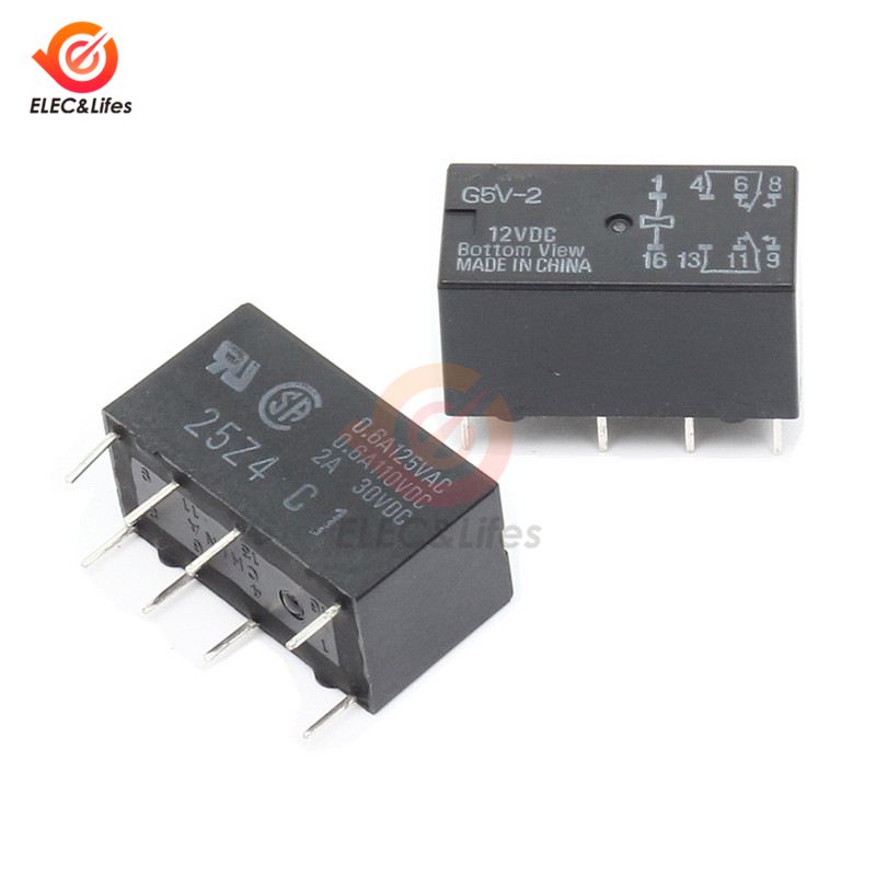 10Pcs 12V Relay G5V-2-12VDC 2A Signal Relay 8PIN for Omron Relay