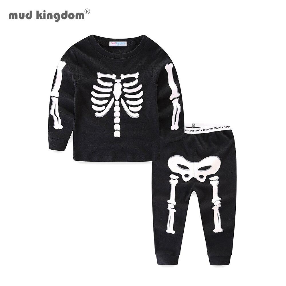 Mudkingdom Little Boys Girls Pajama Set Glowing Halloween Skeleton Fashion Kids Sleepwear Outfits 1