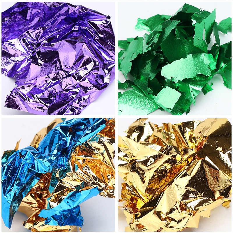 1 กล่องไม่สม่ำเสมออลูมิเนียมฟอยล์โลหะกระดาษสี 3D ที่มีสีสัน Flakes DIY UV เจลเล็บเล็บสติกเกอร์ศิลปะตกแต่งเคล็ดลับ
