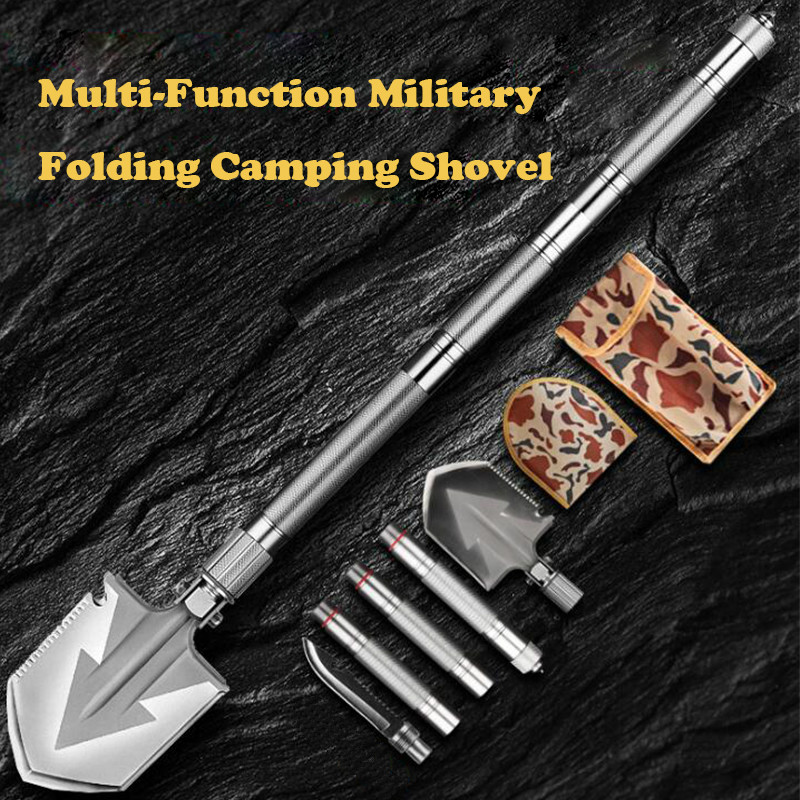 Max Length 92cm Shovel High-carbon Steel Shovel Outdoor Tactical Multifunctional Shovel Folding Camping Equipment Survival Tool