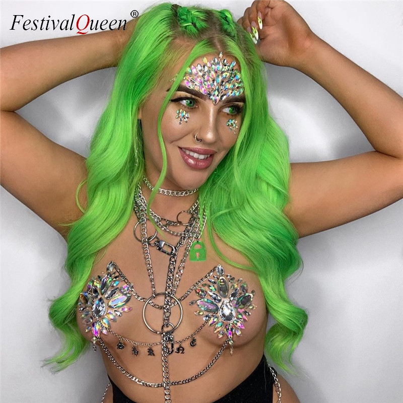 Shiny Gems Bra Temporary Cover Breast Pasties Face Stickers Crystal Rhinestones Nipple Cover Stickers Adhesive Sexy Body Jewelry