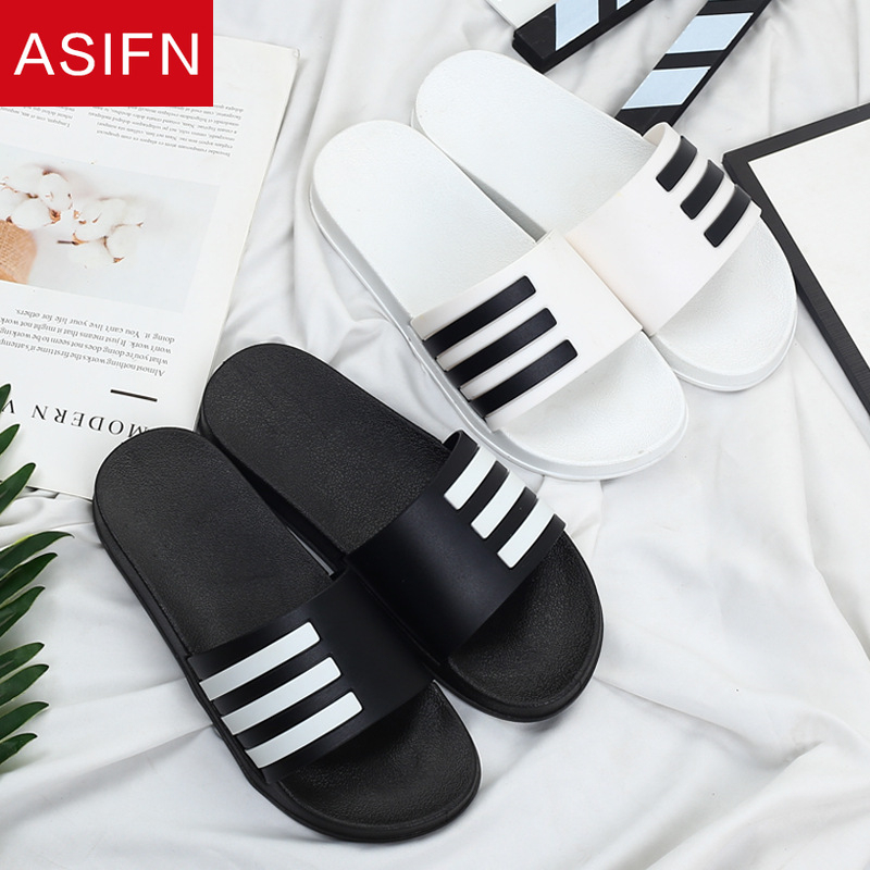 ASIFN Men's Slippers Summer Beach Flip Flops Classic Stripes Sandals Man Shoes Outdoor Sports Male Slides Zapatos De Hombre Man