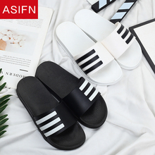 ASIFN Men's Slippers Summer Beach Flip Flops Classic Stripes Sandals Man