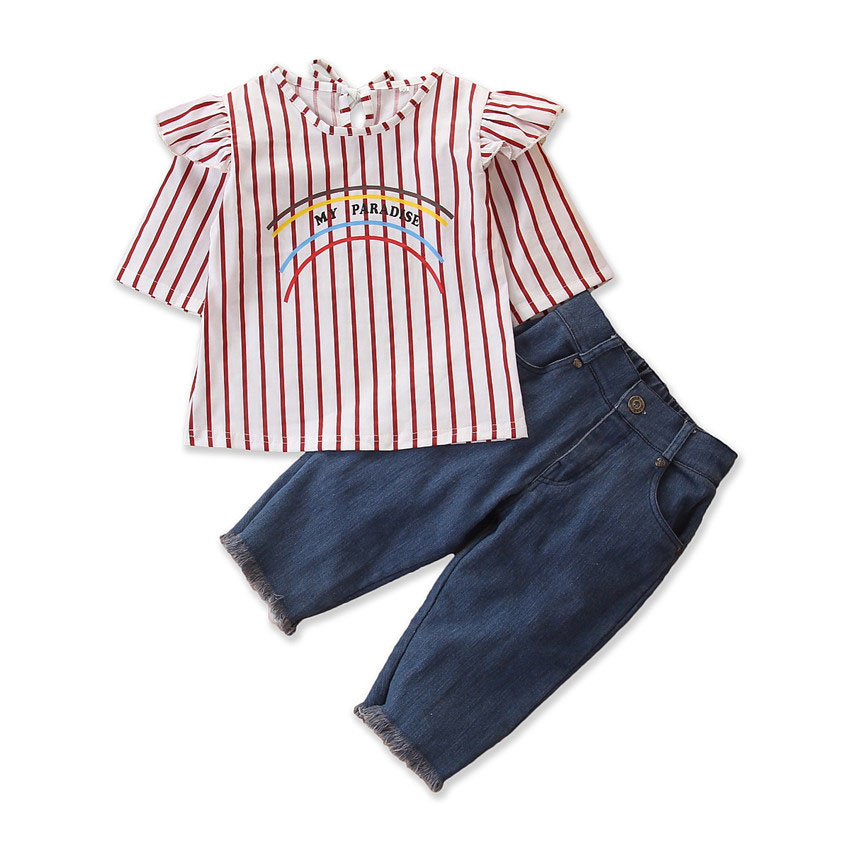 2Piece/1-6Years/Spring Baby Girls Outfits Fashion Casual Stripe T-shirt+Loose Jeans Children Clothes Kids Clothing Sets BC1388 7