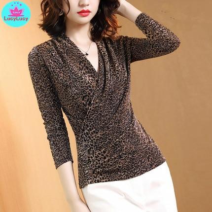 2019 autumn mesh long-sleeved leopard print V-neck knit t-shirt new style Leopard  Regular