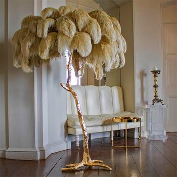 Nórdico cobre avestruz pluma LED suelo luz pelo LED lámpara de pie dormitorio sala de estar Hotel a través de iluminación soporte lámpara Accesorios