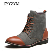 ZYYZYM Men Boots Spring Autumn Casual Shoes Cowboy Mens Oxfords Fashion Leather Zapatos De Hombre