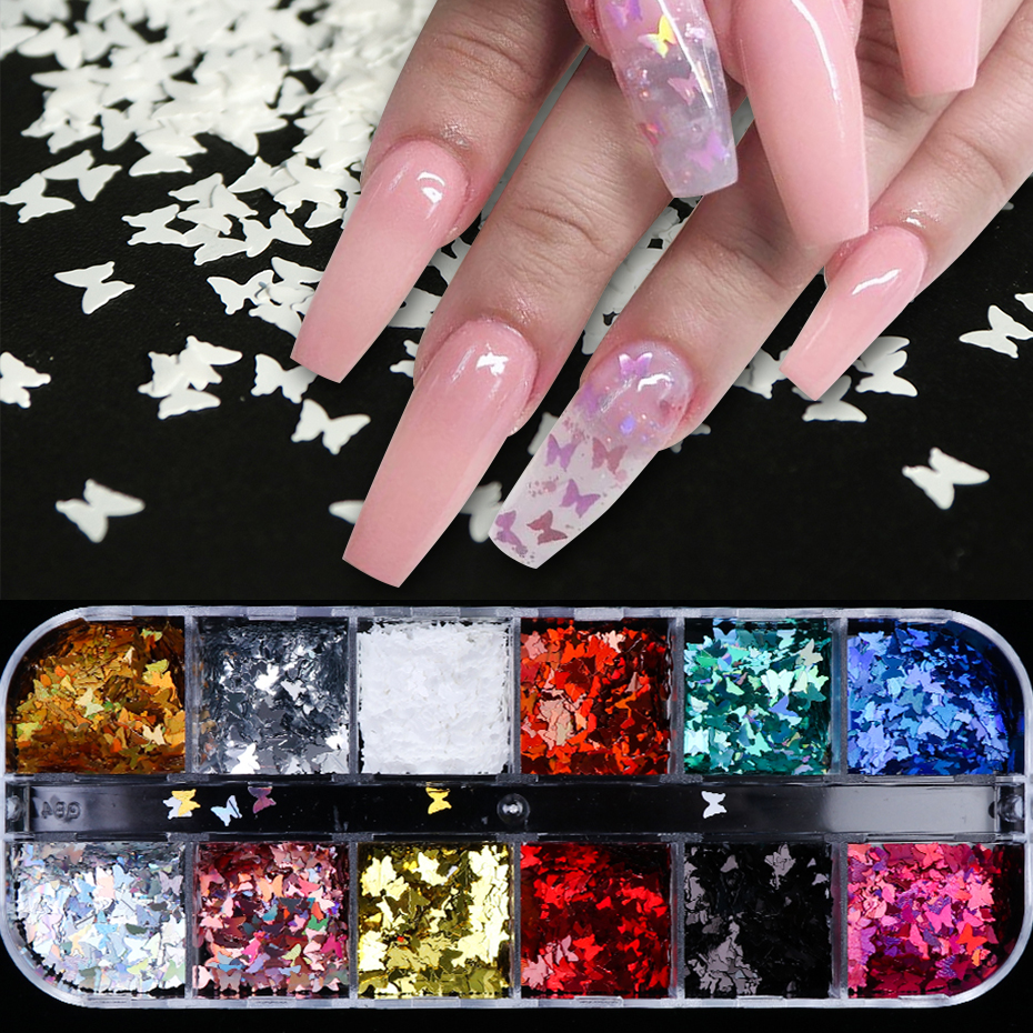 Mixed Holographic Laser Sequins Butterfly Nail Glitter Paillettes Mirror Metal Flakes Decorations Spangles For Manicure LY1558-1