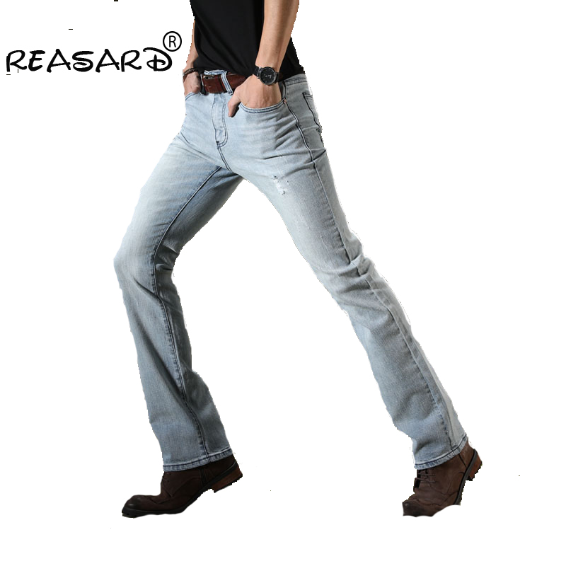 2018 New Brand Mens Blue Ripped Flare Jeans Slim Fit Men Stretch Business Casual Denim Pants Office Long Flared Jeans Trousers