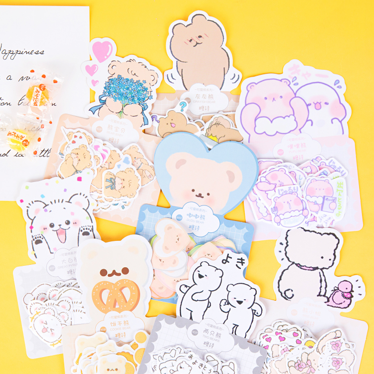 40 Pcs/pack Cute Bear Journal Decorative Stickers Scrapbooking Stick Label Diary Album Stationery Kawaii Cartoon Animal Stickers