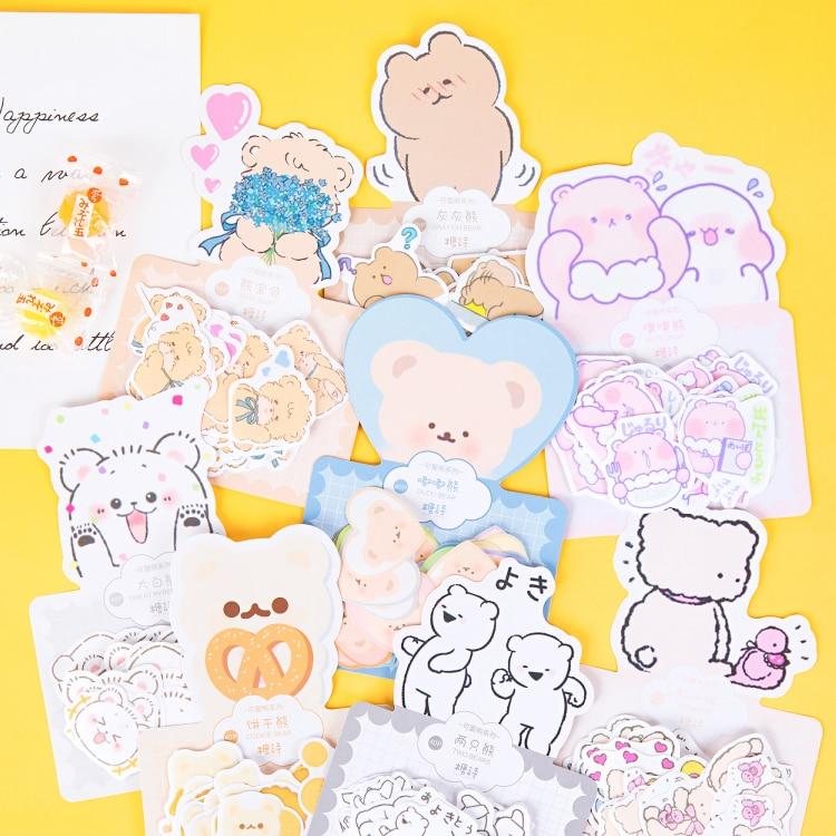 40 Pcs/pack Cute Bear Journal Decorative Stickers Scrapbooking Stick Label Diary Album Stationery Kawaii Cartoon Animal Stickers
