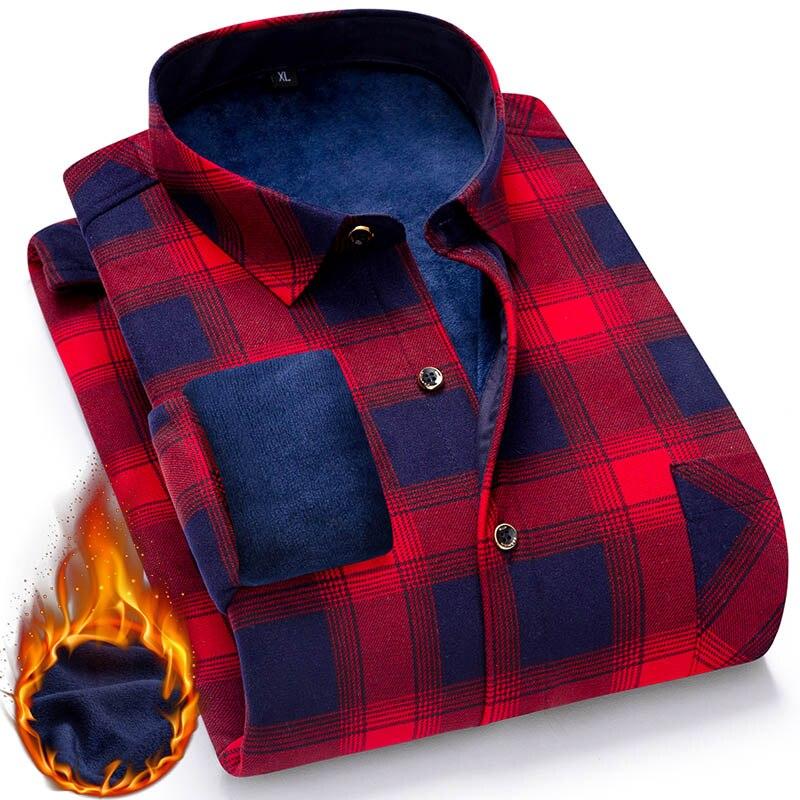 AOLIWEN Warm Shirt Plaid Casual Shirt Long Sleeve Brand Men's Shirt Cotton Wintter Fashion Casual SizeL-5XL High Quality Comfort