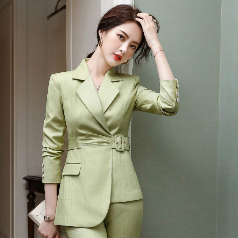 High quality autumn and winter women's suit pants two-piece 2020 new ladies striped belt slim fit jacket suit Fashion trousers