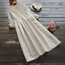 2021 outono bordado longo camisa vestido zanzea vintage casual algodão linho vestidos de manga longa feminino kaftan mais tamanho