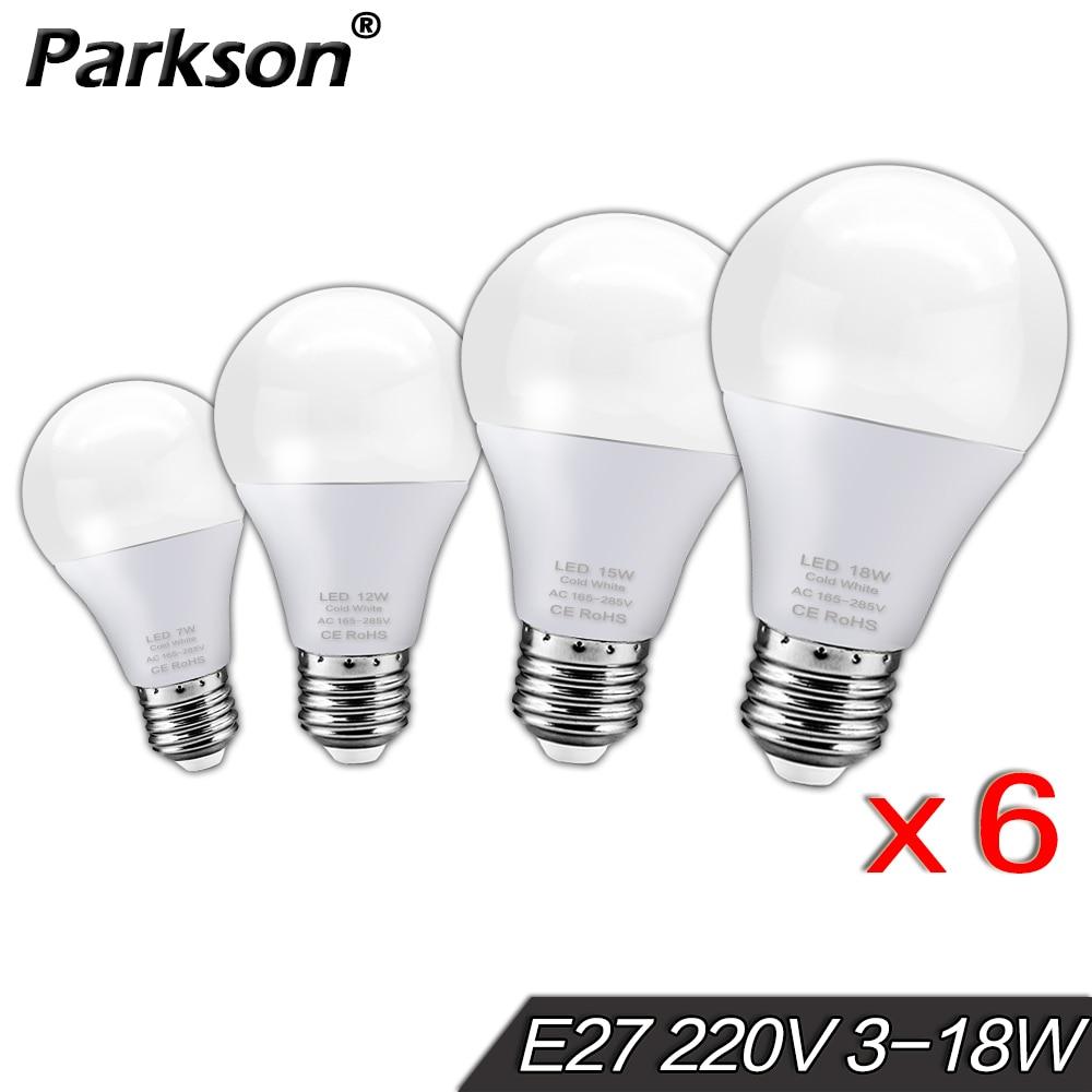 6pcs/lot Lampada LED Lamp E27 Light Bulb 220V Real Watts 3W 6W 9W 12W 15W 18W Cold Warm White LED Bulb Table Ampoule Bombillas