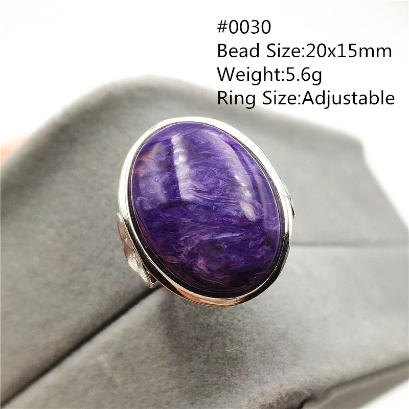 Natural Purple Charoite Crystal Adjustable Ring From Russia 925 Silver Love Gift Stone Oval Beads Fashion Ring Jewelry AAAAA