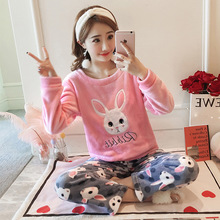 JULYS SONG Cartoon Flannel Women Pajama Sets Autumn Winter Pajamas Cute Animal Female Homewear Thick Warm Women Sleepwear