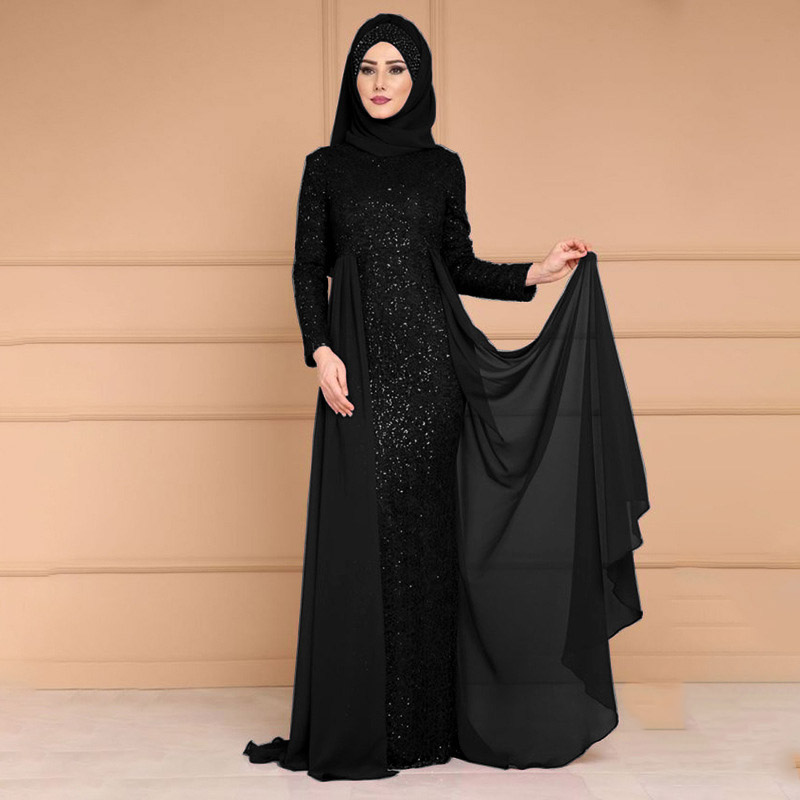 Abaya Muslim Women's Sequins Noble Temperament Long Dress Slim Long Sleeve Dress Arab Turkish Ethnic Style Dubai Patch Dress