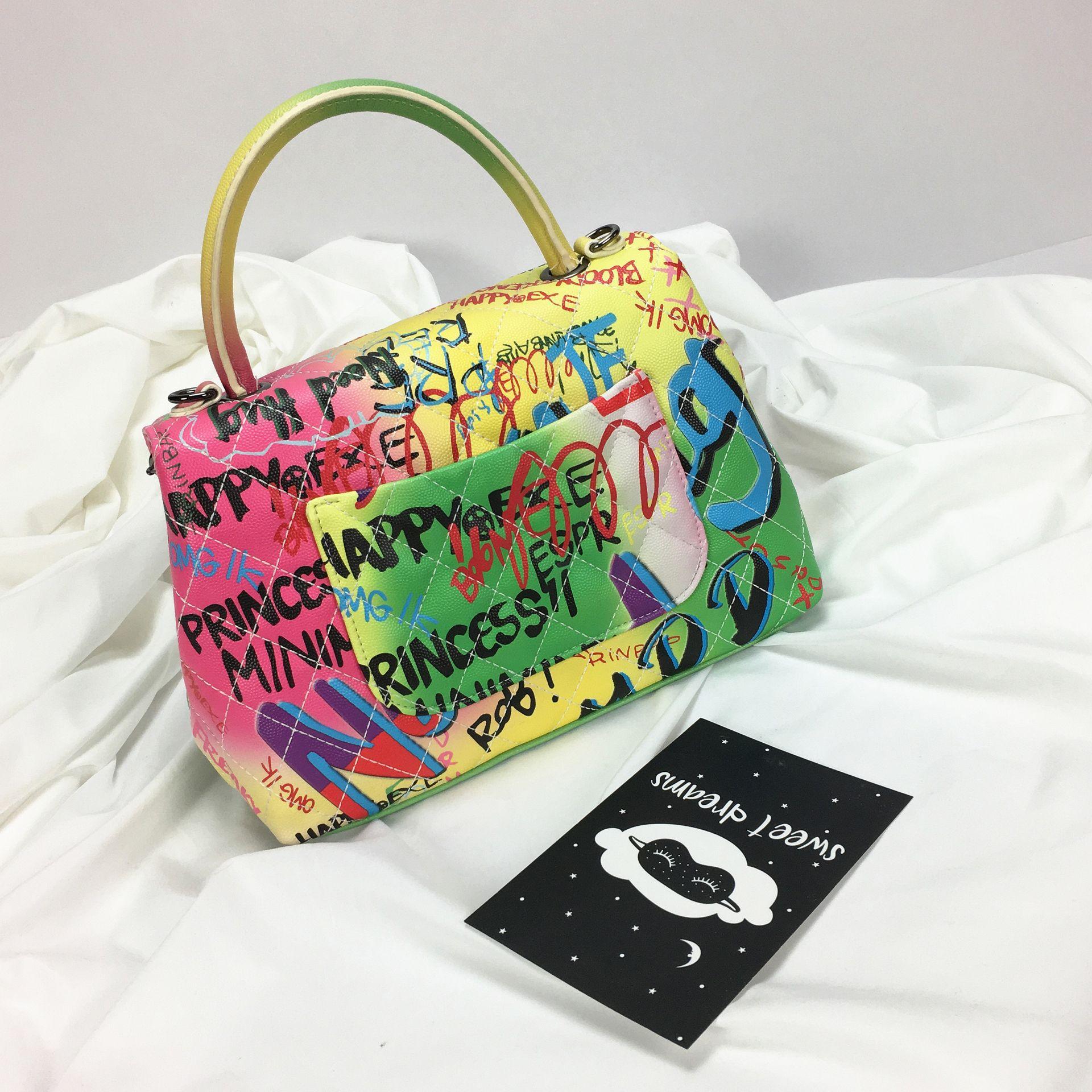Sac à Main en cuir Graffiti épaule bandoulière sacs pour femmes 2019 célèbre concepteur dames Sac fourre-tout de luxe Sac Main Femme Bolso - 3