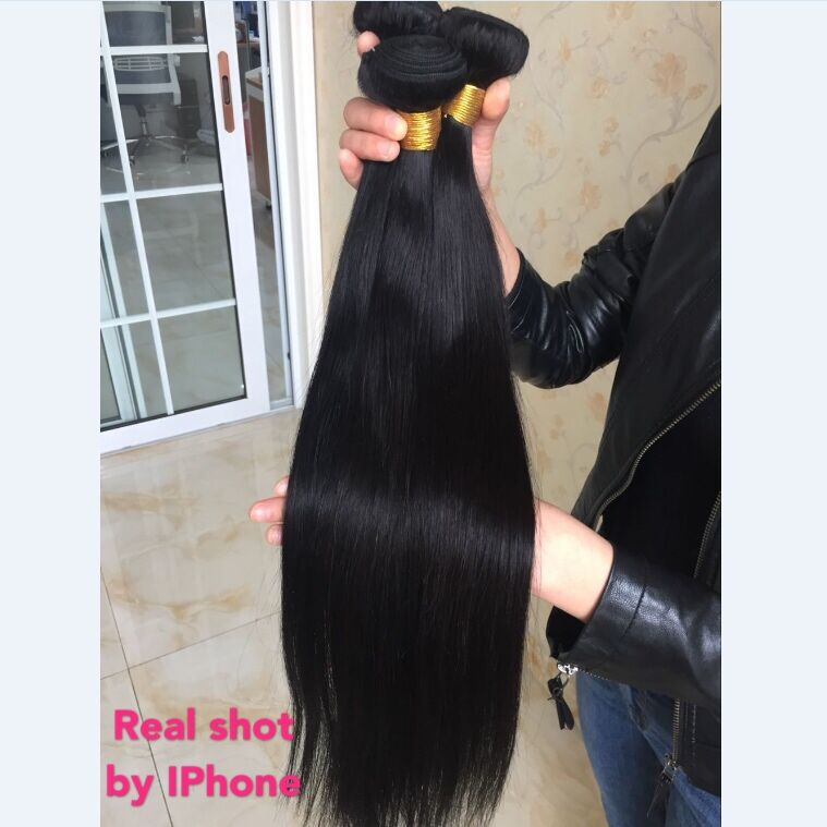 Aliafee Brazilian Straight Hair Weave Bundles Ombre/Natural Human Hair Bundles #1B/#2/#4/#99/#27 Remy 3/4 Pieces Hair Extension