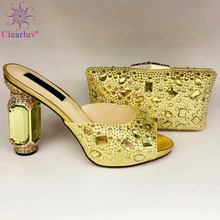 Women Shoes High-Heels Gold-Color Wedding Italian-Design Nigerian And for Bag-Set Super