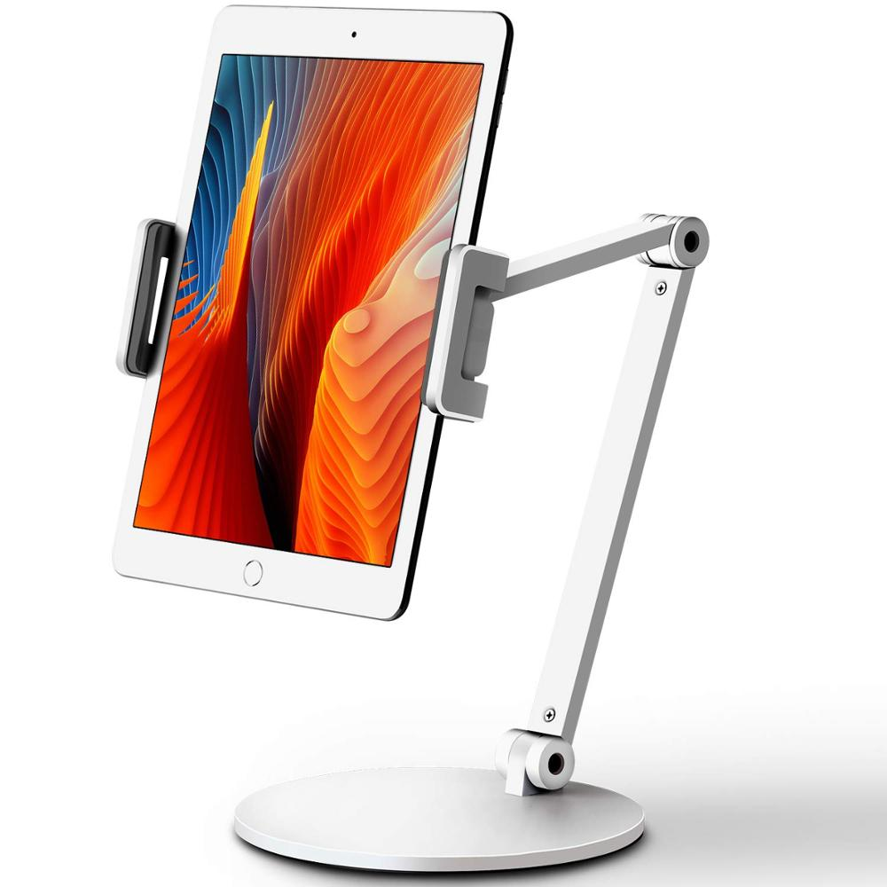 Desktop Aluminum Tablet Stand Long Arm Rotation Cellphone Holder Adjustable Lazy Tablet Mount Compatible with 4-13'' iPhone iPad