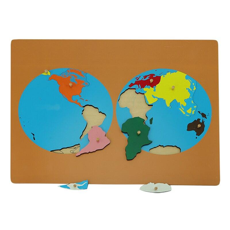 Цветные части пазлов мира Монтессори карты с ручкой игры география дети деревянная доска игрушки Обучающие пособия головоломка карта мира