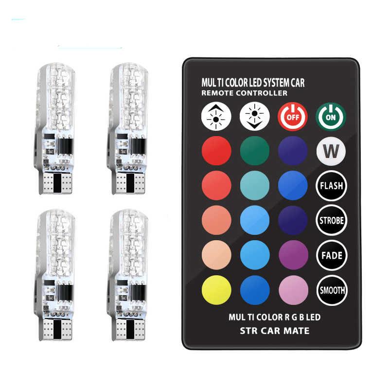 2Pcs/1 Set 12V LED T10 W5W 5050 SMD 1.2W Auto Mobil RGB LED Interior Dome baji Membaca Lampu Strobo Lampu Bohlam dengan Remote Control