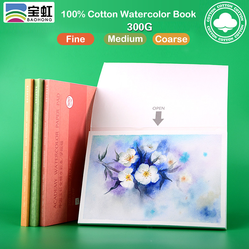 Large Size 300g Cotton Pulp Paper 20Sheets Watercolor Book Hand Painted Transfer Paper For Artist Painting With Free Gift