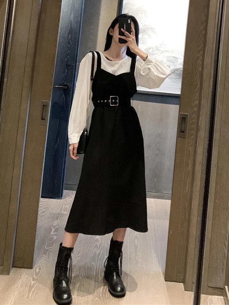 Midi Dress Long-Sleeve Party Elegant Autumn Korean Office Lady Personality Women Casual