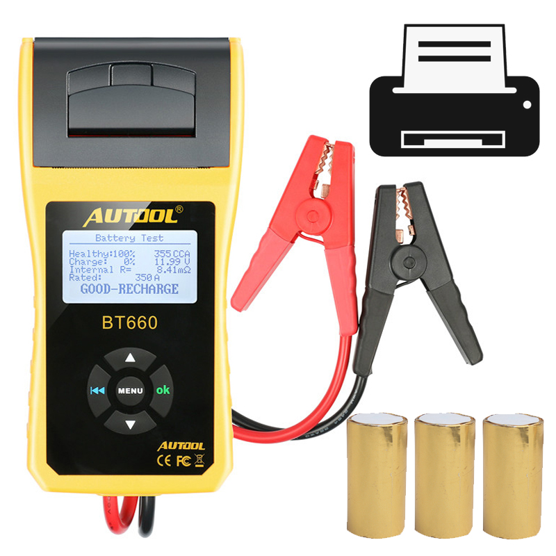 AUTOOL BT660 Car Battery Tester 12v Vehicle Auto Battery Tester Analyzer Diagnostic-tool With Thermal Printer Pk Kw600