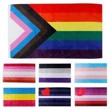 Rainbow-Flag Trans PEACE Lesbian LGBTQ Pride Gay Ft Progress 3x5 Pennants People-Of-Color