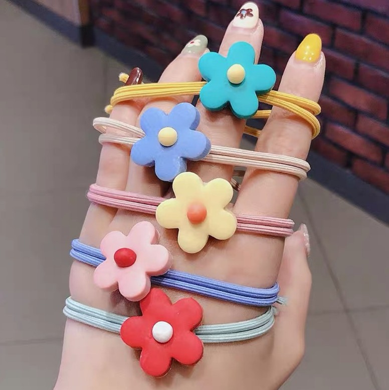 Hair-rope Elastic Band Head Band  Fashion  Candy Color Flower Pattern Ropes Ties Hair Accessories For Girl New Arrival