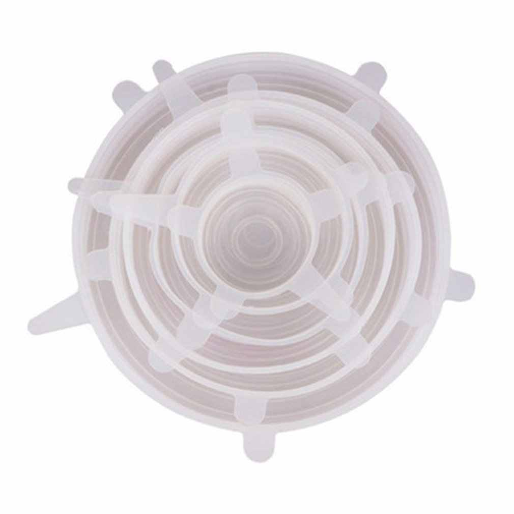 Silicone Segar-Menjaga Cover Dapur Multi Fungsi Buah dan Sayuran Plastik Bungkus Silikon Mangkuk Penutup 6Pcs