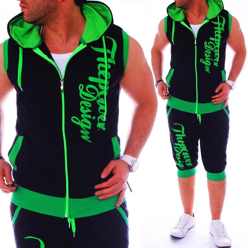 ZOGAA Summer Tracksuit Men's Sleeveless Hoodies+Shorts 2 Pieces Of Set Zipper Letter Print Sweatshirt Sweatsuit Slim Sports Wear