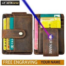 Billetera delgada de viaje para hombre, diseño de cuero Original, bolsillo frontal magnético de gran capacidad, funda para tarjetas con Clip para dinero, 1025