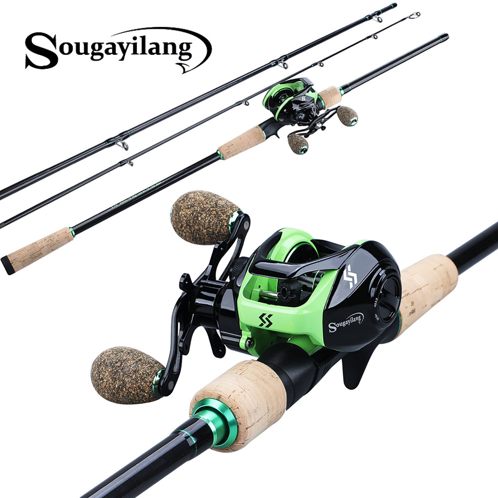 Sougayilang 1.8-2.4M 3 Sections Carbon Baitcsting Fishing Rod With Casting Reel Fishing Combos Travel Fishing Pole Set Tackle