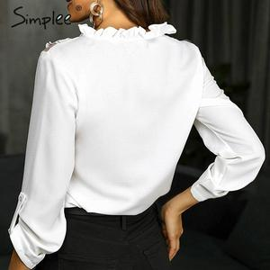 Image 3 - Simplee Elegant lace up chiffon blouse women Ruffled lace embroidery female shirts Long sleeve autumn winter ladies white tops