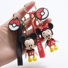 Anime Cute Cartoon Mickey Silicone Keychain Minnie Daisy Duck Keychains Women Charm Bags Key Chain Car Key Ring Accessories(China)
