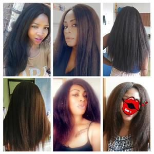 Image 5 - Blice Synthetische Yaki Rechte Pruik 18 22 Inch Lang Haar Zijscheiding Pruiken Geen Pony Voor Afro amerikaanse Vrouwen