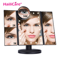 Screen Makeup Mirror with 22 LED Light 1X/2X/3X/10X Magnifying Glass 180 Degree Flexible Rotation Table Countertop Mirror