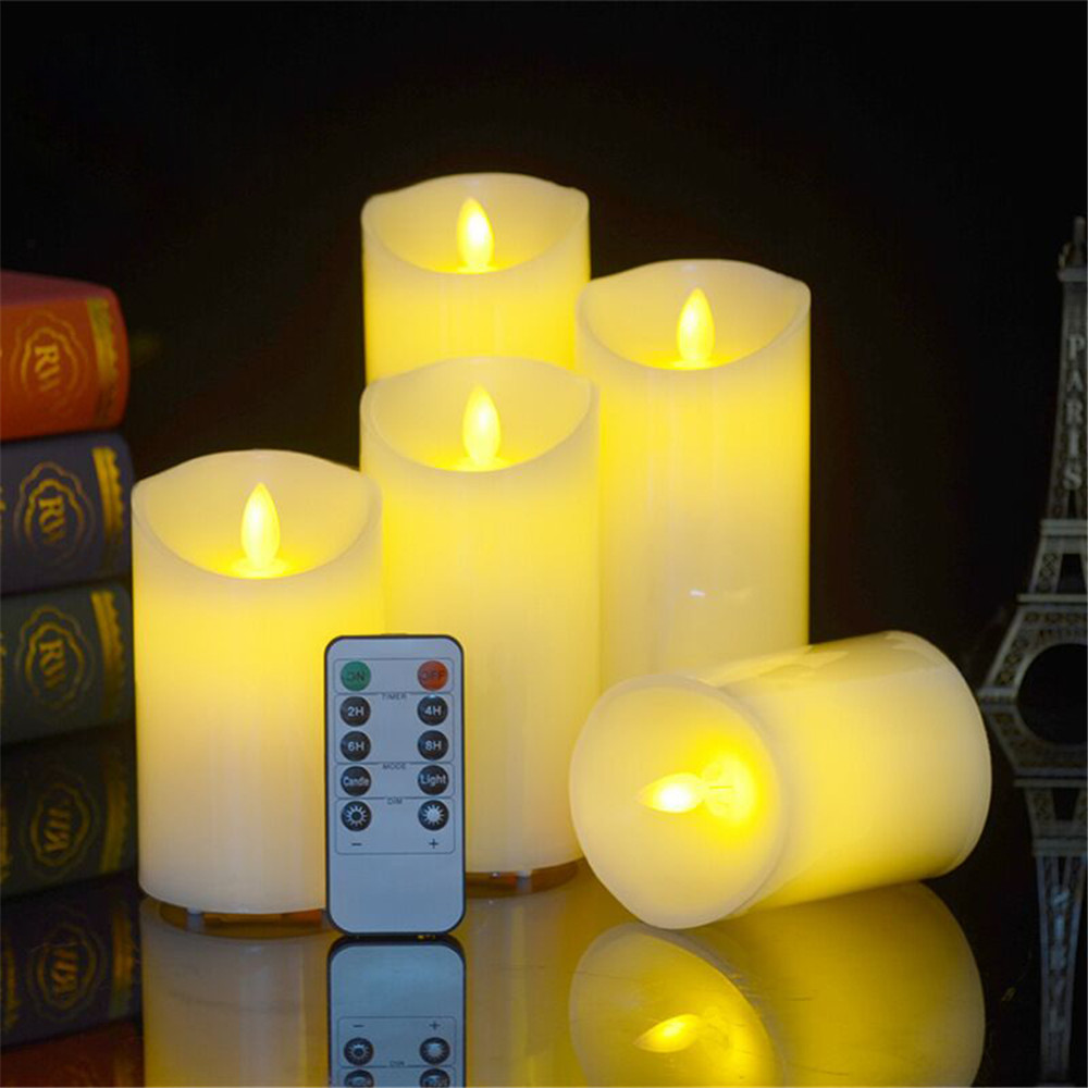 Battery Operated LED Flameless Candles Light Remote Control LED Flickering Candles Dancing Flame Tealight With Timer Function