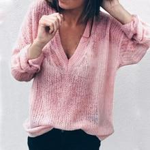 2019 Women Autumn Sweater Fashion Knit Pullovers Deep V-neck Knitwear Sweater Knit Bottoming Light  Loose Solid Jumpers Sweater knit v neck sweater