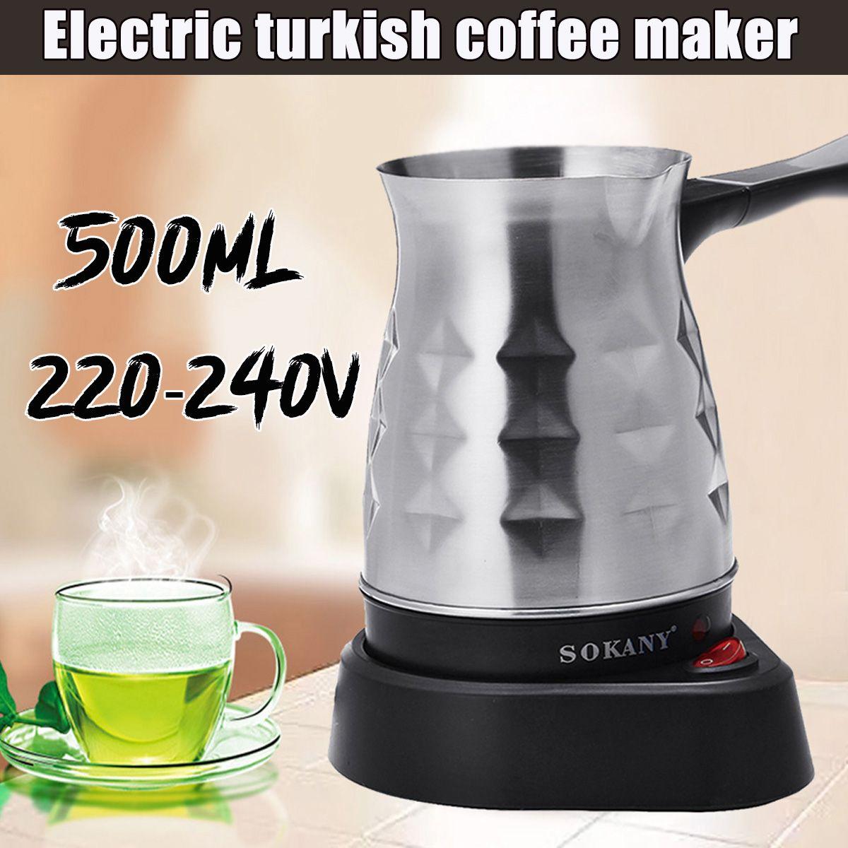 500 мл, электрическая кофеварка, чайник, 600 Вт, турецкий эспрессо, Перколятор, для дома и офиса, нержавеющая сталь, чай, молоко, кофе машина