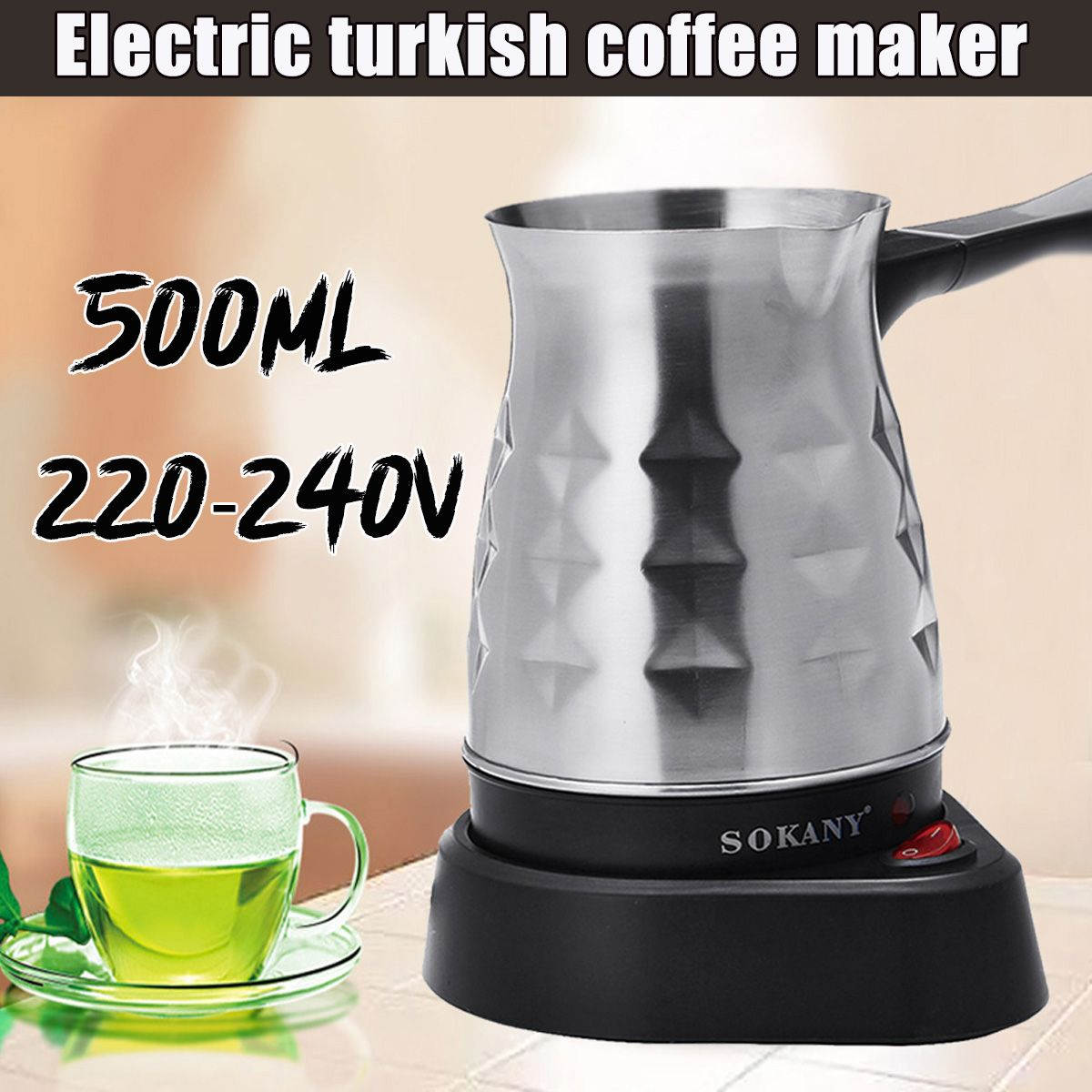500ml Electric Coffee Maker Pots Kettle 600W Turkish Espresso Percolator Home Office Stainless Steel Tea Milk Coffee Machine