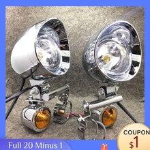 Para triumph honda yamaha cafe racer 1 conjunto, cromado universal luz de ponto com indicador de seta lâmpada auxiliar