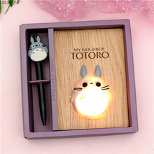 New Creative Cartoon Anime Action Figure Totoro LED Light Bedroom Lamp toy Wooden Notepad Notebook Diary Hand Book Birthday Gift