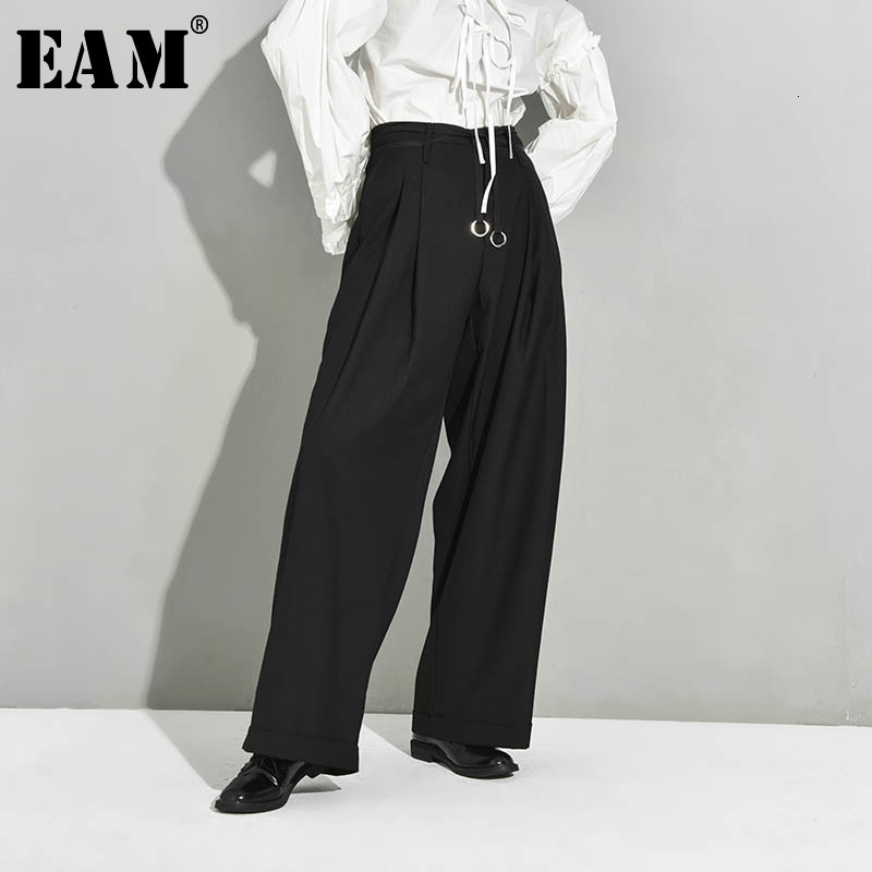 [EAM] High Waist Black Pleated Bandage Long Wide Leg Trousers New Loose Fit Pants Women Fashion Tide Spring Autumn 2020 JX39901