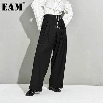 [EAM] High Waist Black Pleated Bandage Long Wide Leg Trousers New Loose Fit Pants Women Fashion Tide Spring Autumn 2021 JX39901 - discount item  32% OFF Pants & Capris