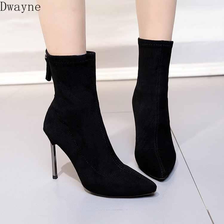 2019 yeni basit moda orta tüp çizmeler ince topuklu Martin çizmeler sivri burun elastik bayan botları seksi yüksek topuklu kısa çizmeler